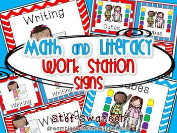Math and Literacy Center Signs {Work Station Signs} Red, White, Blue Colors