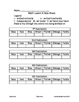 Math and Literacy Center plans with DATA SHEETS