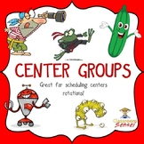 Math and Literacy Centers Group Names with Schedule Cards and Graphics