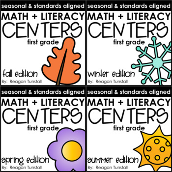 Math and Literacy Centers Seasonal Bundle First Grade