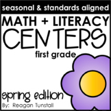 Math and Literacy Centers Spring First Grade