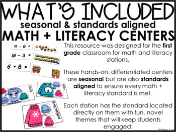 Math and Literacy Centers Winter First Grade