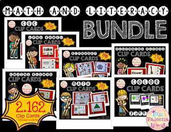 Math and Literacy Clip Cards Bundle