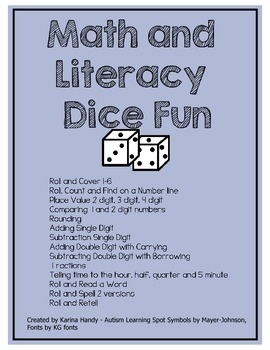 Math and Literacy Dice Games