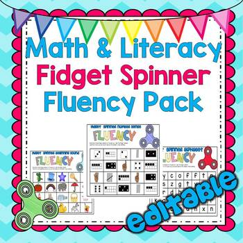 Math and Literacy Fidget Spinner Centers Packet: EDITABLE