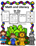 Math and Literacy Packet Wizard of Oz Theme Freebie