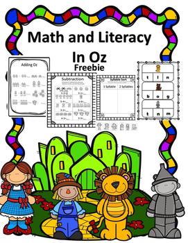Kindergarten Math and Literacy In Oz Freebie