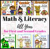 Math & ELA Worksheets Seasonal Bundle Distance Learning 1st and 2nd Grades