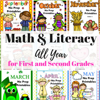 *Math and Literacy NO PREP Printables for Common Core Skil