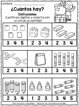 Spanish Print and Learn - Math and Literacy Pages - Kindergarten September