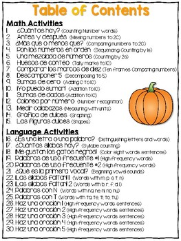 Math and Literacy Pages for Bilingual Kindergarten – Print & Learn October