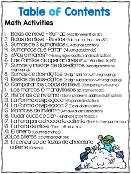Spanish Print and Learn - Math and Literacy Pages - 2nd Grade Winter