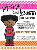Spanish Print and Learn - Math and Literacy Pages - Kindergarten Fall