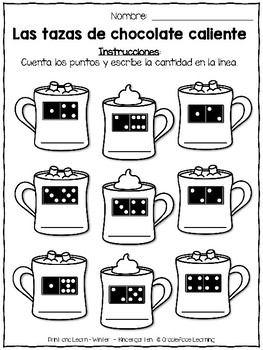 Spanish Print and Learn - Math and Literacy Pages - Kindergarten Winter