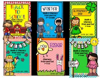 No Prep Math and Literacy Print & Go BUNDLE {2nd grade CCSS}