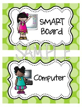 Math and Literacy Station Labels and Choice Cards {Blue & Green Polka Dots}