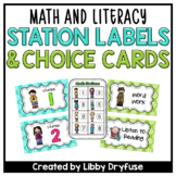 Math and Literacy Station Labels and Choice Cards {Blue &