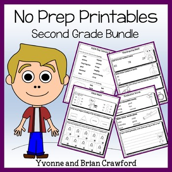 Math and Literacy No Prep Printables Bundle - 2nd Grade Co