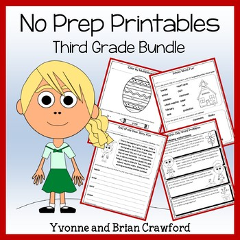 Math and Literacy NO PREP Printables Bundle - 3rd Grade Common Core