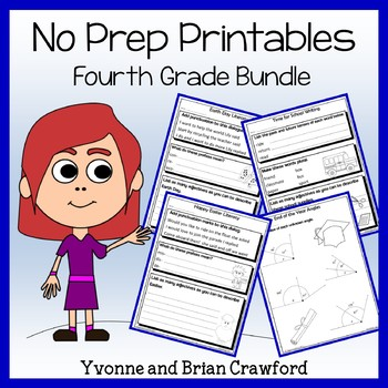 Math and Literacy No PREP Printables Bundle - 4th Grade Common Core