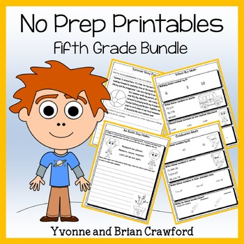 Math and Literacy NO PREP Printables Bundle - 5th Grade Common Core