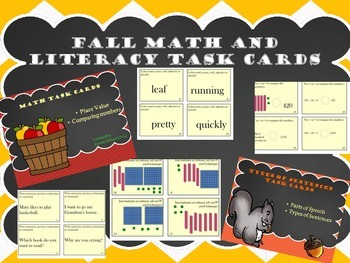 Math and Literacy Task Cards Bundle - Fall Themed