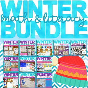 Winter themed Math and Literacy Center Activity Bundle