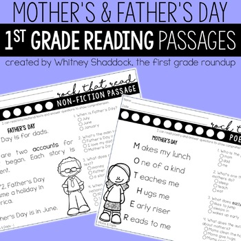 Mother's Day and Father's Day Worksheets for Math and Literacy Bundle