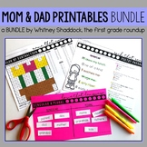 Math and Literacy Worksheets for First Grade: Mom and Dad Bundle