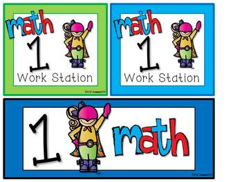 Math and Literacy Center Signs {Work Station Signs}