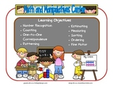 Math and Manipulative Learning Center Sign~ With Objectives