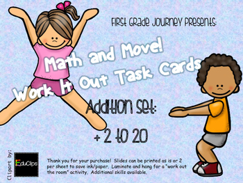 Math and Move! Exercise Task Cards Around the Room {Add +2 to 20}