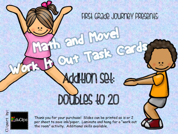 Math and Move! Exercise Task Cards Around the Room {Doubles to 20}