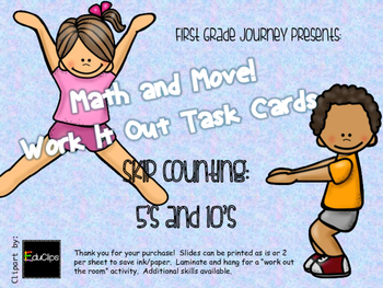 Math and Move! Exercise Task Cards Around the Room {Skip Count 5's 10's}