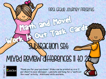 Math and Move! Exercise Task Cards Around the Room {Sub 11-20}