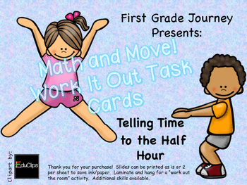 Math and Move! Exercise Task Cards Around the Room {Time to Half Hour}
