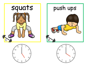 Math and Move! Exercise Task Cards Around the Room {Time to Hour}