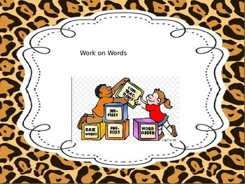 Math and Reading Center Charts Animal print theme