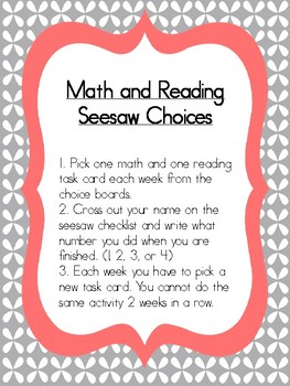Math and Reading Choice Boards for Seesaw