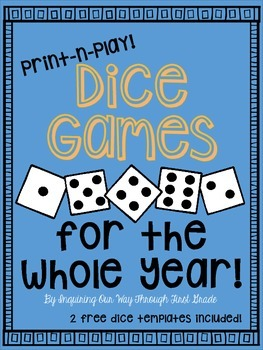 Math and Reading Dice Games for the Whole Year with Editab