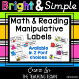 Math and Reading Manipulative Labels