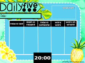 Math and Reading Rotation Boards Centers with Timers in Tropical Theme Editable!