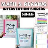 Editable Math and Reading Small Group Teacher Binders Bundle