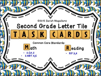 Math and Reading Task Cards: Second Grade Letter Tile Task Cards