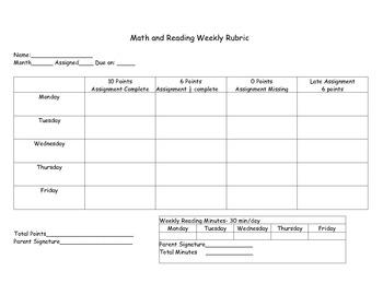 Math and Reading Weekly Homework Chart