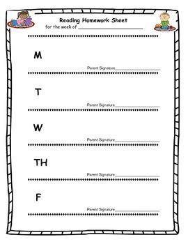 Math and Reading homework sheet