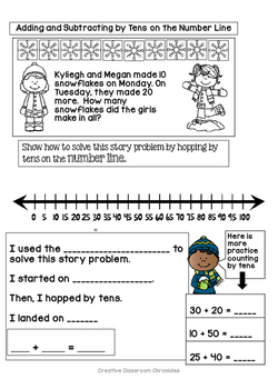 Math and Scaffolded Writing:  Adding and Subtracting By Tens on the Number Line