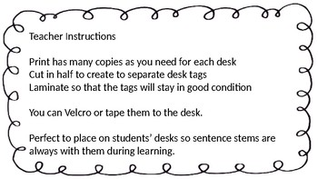 Math and Science Sentence Stems Desk Tags