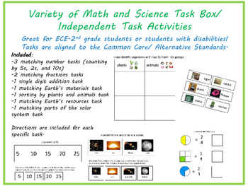 Math and Science Task Boxes for K-2 or Kids with Disabilities
