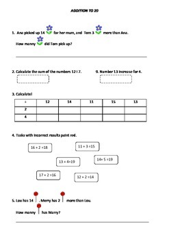 Math and reading and writing worksheet